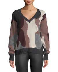 360sweater - Cayenne V-neck Camo Skull Cashmere Sweater - Lyst