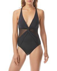 MICHAEL Michael Kors Twist-front Mesh V-neck One-piece Swimsuit - Black