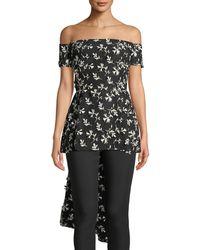 Lela Rose - Off-the-shoulder Bow-back Floral-embroidered Top - Lyst