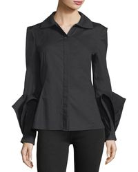 Zac Posen - Spread-collar Button-front Cotton Blouse - Lyst