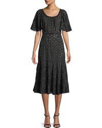 Rebecca Taylor - Sarah Scoop-neck Short-sleeve Eyelet Embroidered A-line Midi Dress - Lyst
