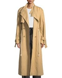 Vince - Long Linen/cotton Drawstring Trench Coat - Lyst