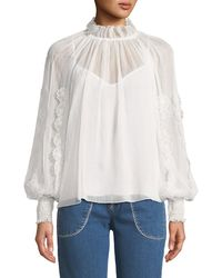 See By Chloé - V-neck Floral Cutout Long-sleeve Blouse - Lyst