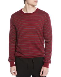 Vince - Men's Striped Wool/cashmere Crewneck Sweater - Lyst