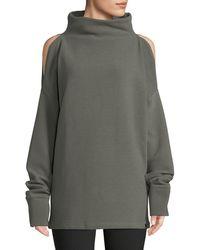 Varley - Hampton Cold-shoulder Cotton Sweatshirt - Lyst