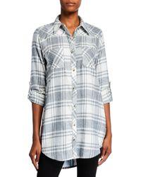Tolani Plus Size Tina Plaid Button-down Tunic With Printed Back - White