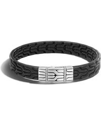 John Hardy Classic Chain Men's Leather Bracelet - Black