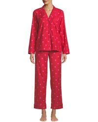 Kate Spade - Striped Brushed Twill Classic Pajama Set - Lyst