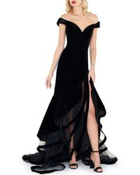 Mac Duggal - Off-the-shoulder Velvet Gown W/ Layered Ruffle Mesh Skirt - Lyst
