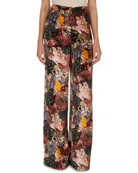 Erdem Birte Floral-print Velvet Pajama Pants - Multicolor