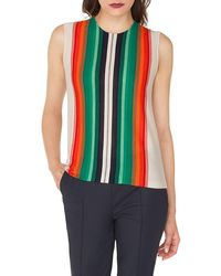 Akris - Sleeveless Crewneck Striped Cashmere-silk Pullover Shell - Lyst