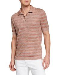 098e2551d2 Men's Striped Polo Shirt - Orange