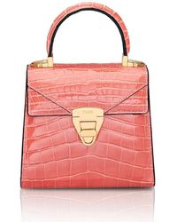 Stalvey Mini Trapezoid Crocodile Top-handle Bag - Pink
