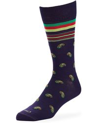 Etro Men's Paisley Cotton-blend Socks - Purple
