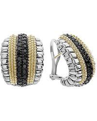 Lagos Black Diamond Lux Huggie Hoop Earrings - Multicolor