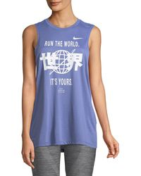 Nike - Run The World Dri-fit Graphic Muscle Tank Top - Lyst