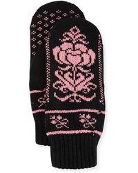 Rosie Sugden Cashmere Floral Norwegian Mittens - Black