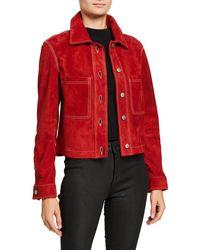 Nour Hammour Zennia Suede Jacket - Red