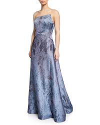Rene Ruiz Strapless Textured Metallic Ball Gown - Blue