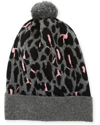 Rosie Sugden - Rib-knit Leopard Intarsia Cashmere Beanie Hat - Lyst