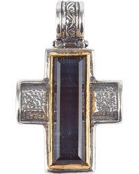 Konstantino | Men's Sterling Silver & 18k Gold Cross Pendant With Hawk's Eye | Lyst