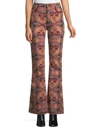 Etro - High-rise Flared-leg Damask-print Jeans - Lyst