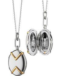 Monica Rich Kosann - Two-tone Silver & 18k Yellow Gold Chevron Oval Locket Necklace 17 - Lyst