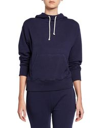 Vince Stretch Cotton Pullover Hoodie - Blue