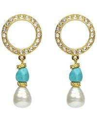 Ben-Amun Pearly Turquoise-stone Dangle Earrings - Blue