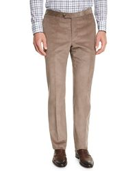 Isaia - Corduroy Flat-front Trousers - Lyst