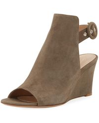 Gianvito Rossi - Open-toe Slingback Wedge Bootie - Lyst