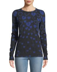 Autumn Cashmere - Inked Reversible Broken-hearts Intarsia Sweater - Lyst