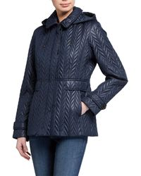 Kate Spade Short Quilted Jacket With Detachable Hood - Blue