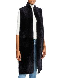 Gushlow and Cole Reversible Leather & Shearling Extra-long Vest - Black