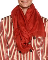 Giorgio Armani | Cashmere Logo Scarf W/ Frayed Edges | Lyst