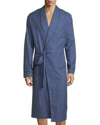 Neiman Marcus - Brushed Flannel Robe Navy - Lyst