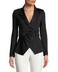 Emporio Armani - Pleated-waist Notched-lapel Chevron-knit Jacket - Lyst