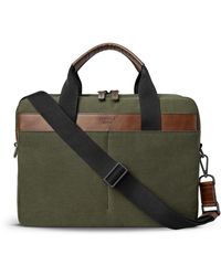 Shinola Men's Mack Waxed Canvas/navigator Leather Briefcase - Green