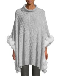 Neiman Marcus - Luxury Cashmere Cable-knit Poncho With Fur Trim - Lyst
