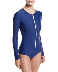 Cover Upf 50 Long-sleeve Zip Swimsuit - Blue