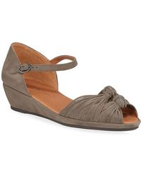 Gentle Souls Lily Knot Suede Wedge Sandals - Brown