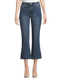 Co. High-rise Five-pocket Flared-leg Cropped Jeans - Blue