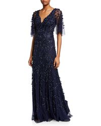 THEIA - Women's Flutter Sleeve Beaded Gown - Midnight - Size 16 - Lyst