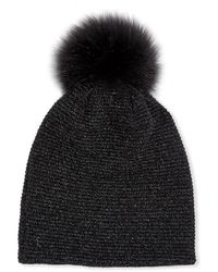 Inverni - Merino Wool-blend Metallic Knit Beanie Hat W/ Fox Fur Pompom - Lyst