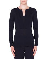 Akris Punto Split-neck Wool Pullover Sweater - Black