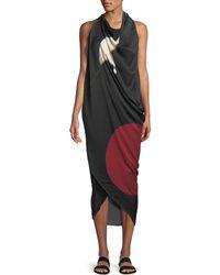 Urban Zen - Abstract Brushstroke Print Silk Scarf Dress - Lyst