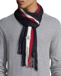 Moncler | Fringed-end Striped Wool Scarf | Lyst