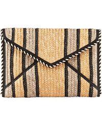 Rebecca Minkoff - Leo Striped Straw Clutch Bag - Lyst