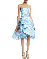 Monique Lhuillier - Strapless Draped Floral-print Taffeta Cocktail Dress - Lyst