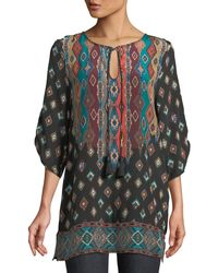 Tolani - Saylor Ruched-sleeves Batik-print Silk Tunic Dress - Lyst
